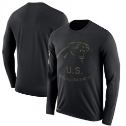 Carolina Panthers Legend Men's 2018 Salute to Service Sideline Performance Long Sleeve T-Shirt (Black)