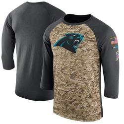 Carolina Panthers Legend Men's Salute to Service 2017 Sideline Performance Three-Quarter Sleeve T-Shirt (Camo/Anthracite)
