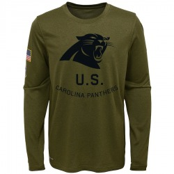 Carolina Panthers Legend Youth 2018 Salute to Service Performance Long Sleeve T-Shirt (Olive)