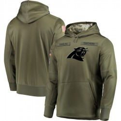 Carolina Panthers Men's 2018 Salute to Service Sideline Therma Performance Pullover Hoodie (Olive)