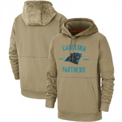 Carolina Panthers Men's Tan 2019 Salute to Service Sideline Therma Pullover Hoodie ()