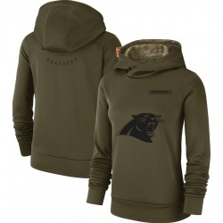 Carolina Panthers Women's 2018 Salute to Service Team Logo Performance Pullover Hoodie (Olive)