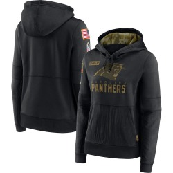 Carolina Panthers Women's 2020 Salute to Service Performance Pullover Hoodie (Black)