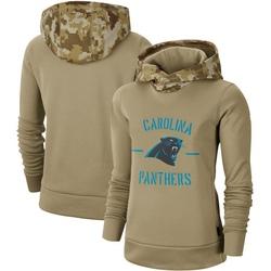 Carolina Panthers Women's Khaki 2019 Salute to Service Therma Pullover Hoodie ()
