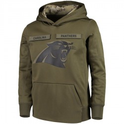 Carolina Panthers Youth 2018 Salute to Service Pullover Performance Hoodie (Green)