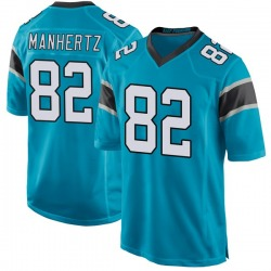 Chris Manhertz Carolina Panthers Game Men's Alternate Jersey (Blue)