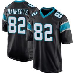 Chris Manhertz Carolina Panthers Game Youth Team Color Jersey (Black)