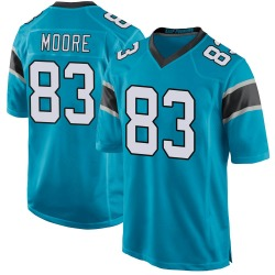 David Moore Carolina Panthers Game Men's Alternate Jersey (Blue)