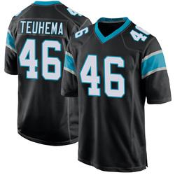 Sione Teuhema Carolina Panthers Game Men's Team Color Jersey (Black)