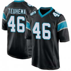 Sione Teuhema Carolina Panthers Game Youth Team Color Jersey (Black)